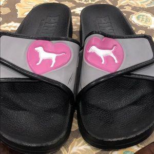 VS Pink Velcro Slides Rubber Soles, 8-9